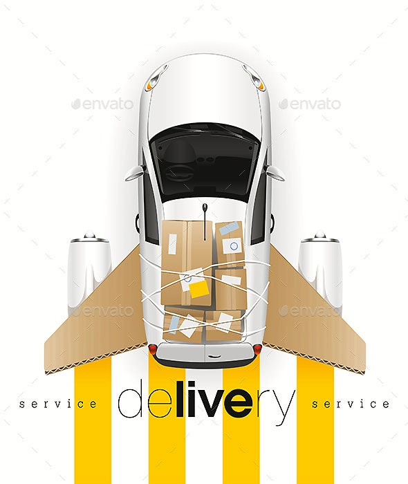 Delivery Car With Cardboard Wings - Services Commercial / Shopping