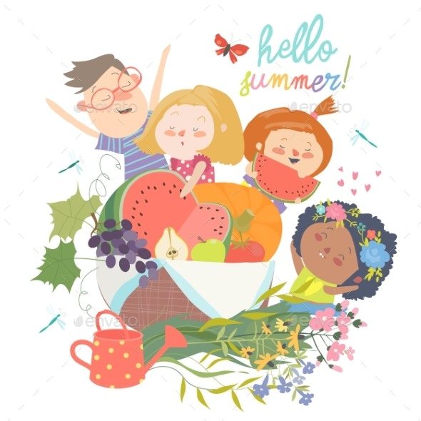 Cartoon Children with Flowers and Fruits. Hello - People Characters
