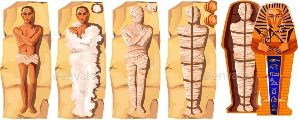 Mummy Creation Cartoon Vector Illustration - Religion Conceptual