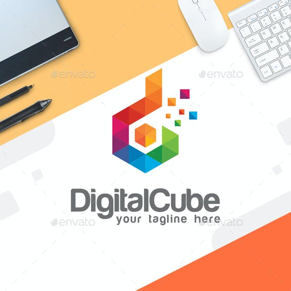 Digital Logo template - Letter D