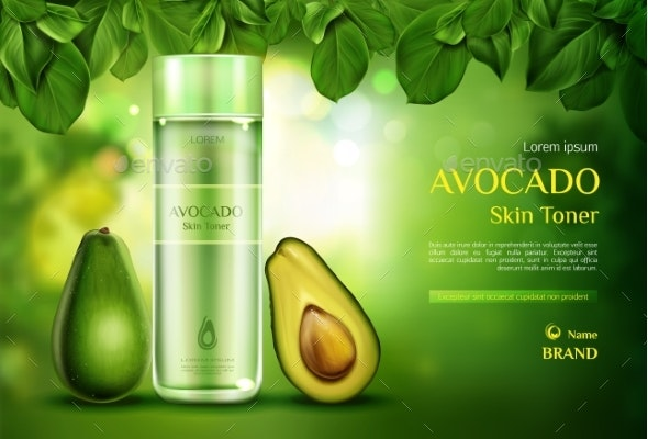 Cosmetics Skin Toner Avocado Beauty Product Bottle - Health/Medicine Conceptual