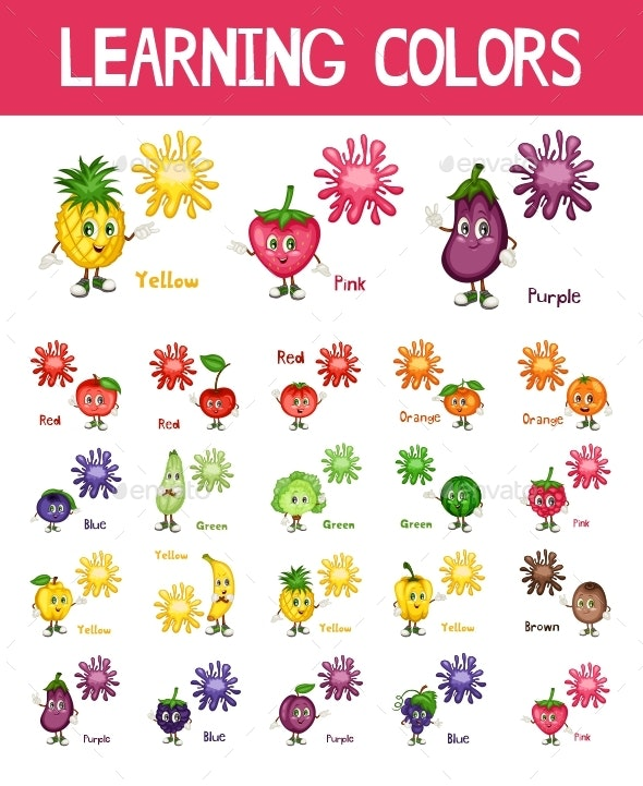 Learning Colors with Fruits Characters - Food Objects