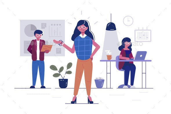 Workers in Office - People Characters