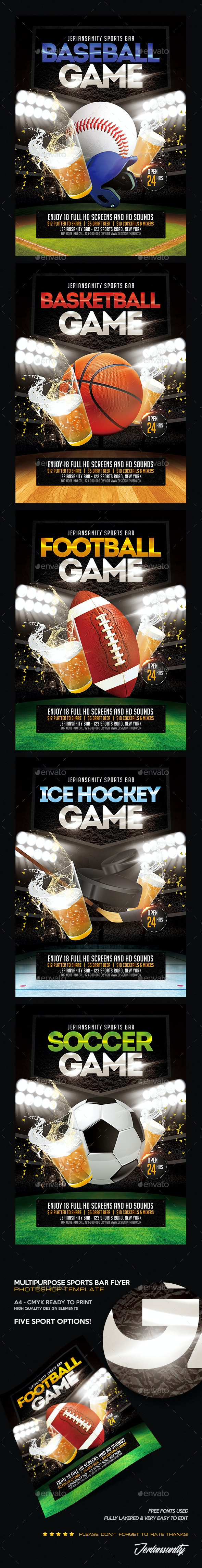 Multipurpose Sports Bar Flyer - Sports Events