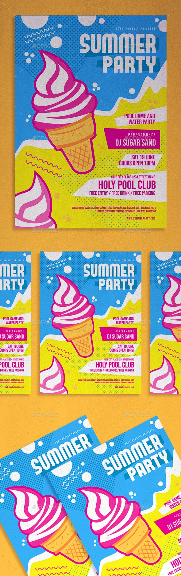 Summer Party Flyer - Invitations Cards & Invites