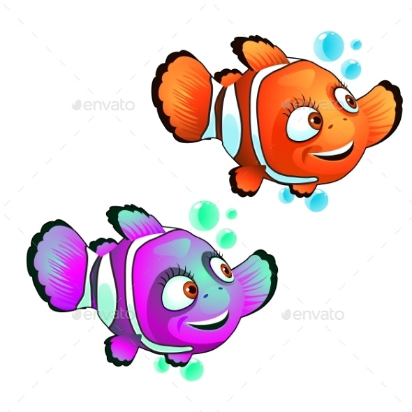 Set of Smiling Clown Fish Isolated on White - Animals Characters