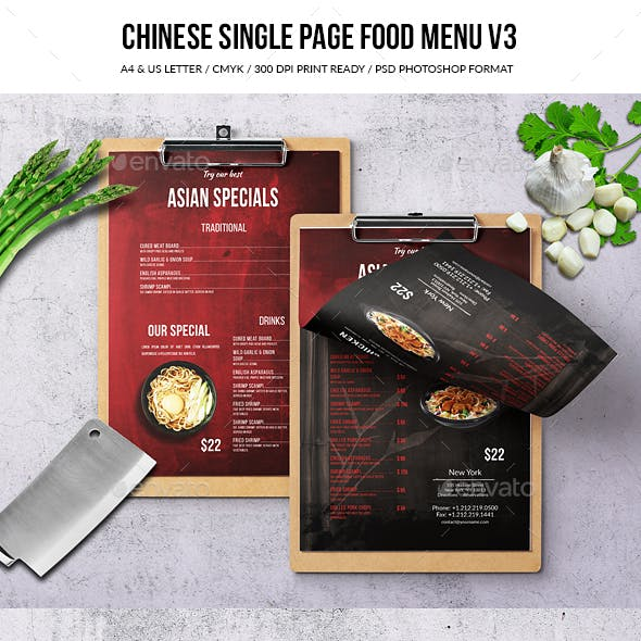 Chinese A4 & US Letter Single Page Menu