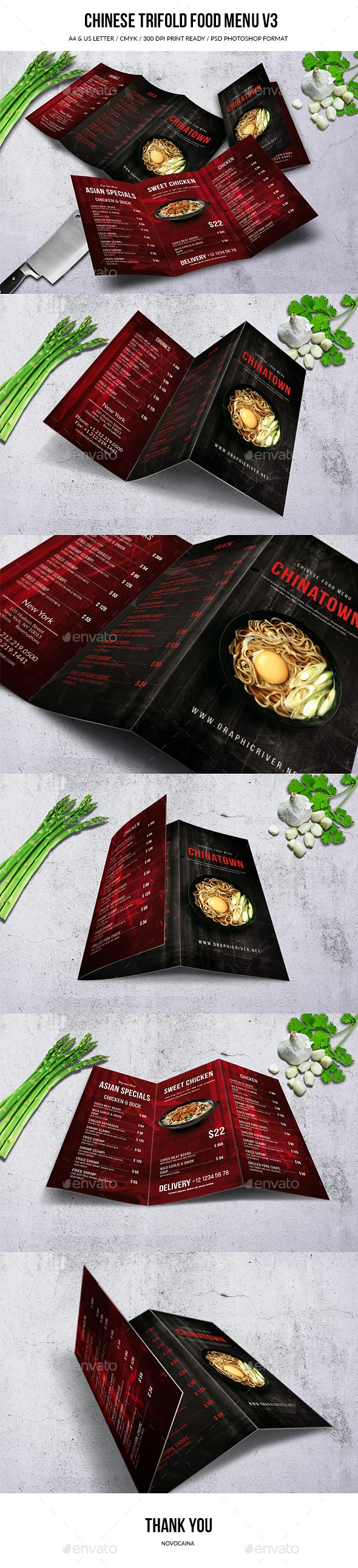 Chinese A4 & US Letter Trifold Menu - Food Menus Print Templates