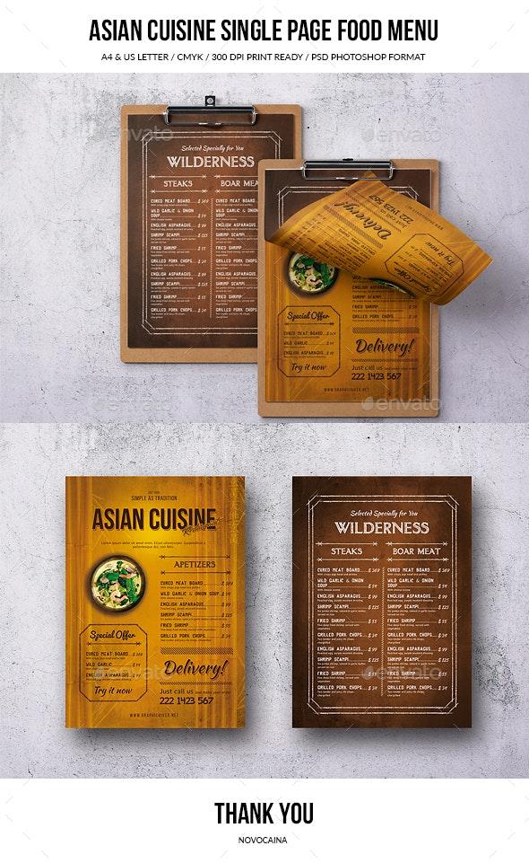 Asian Cuisine Single Page Menu - Food Menus Print Templates