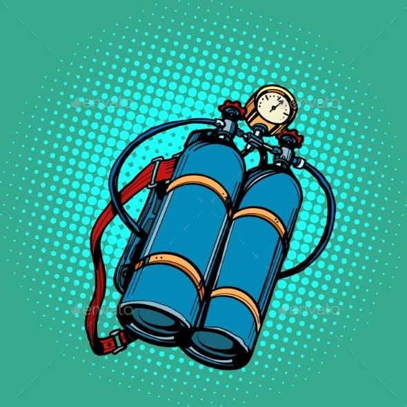 Oxygen Tank for Diver - Man-made Objects Objects