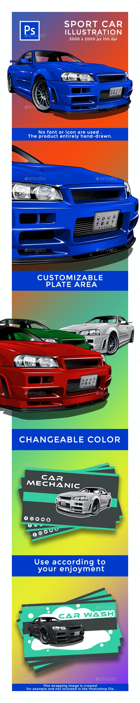 GTR Sport Car Illustration - Objects Illustrations