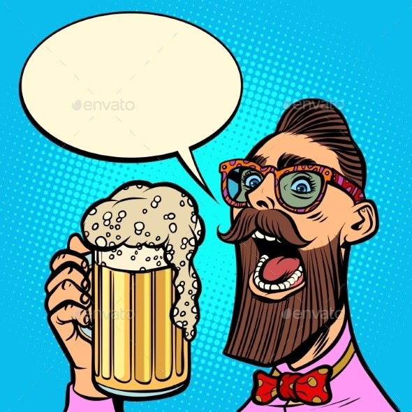 Hipster Drinking a Mug of Beer - Miscellaneous Vectors