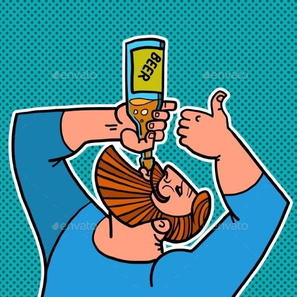 Bearded Man Drinking a Bottle of Beer - Food Objects