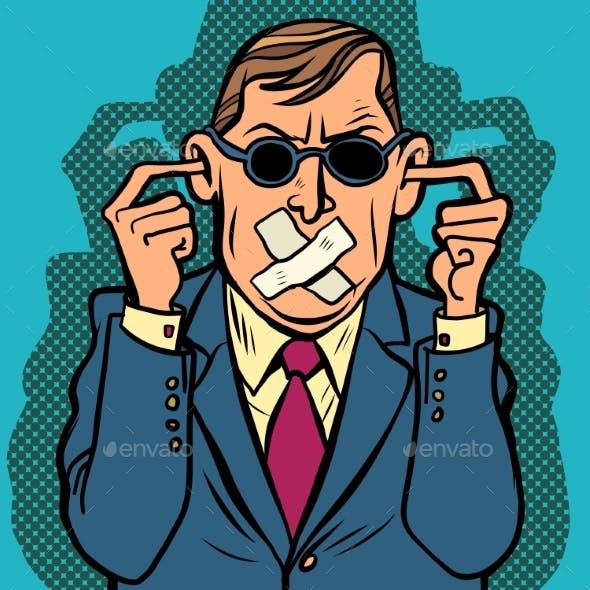 Man Blind Dumb Deaf Censorship