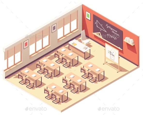 Vector Isometric School Mathematics Classroom - Buildings Objects