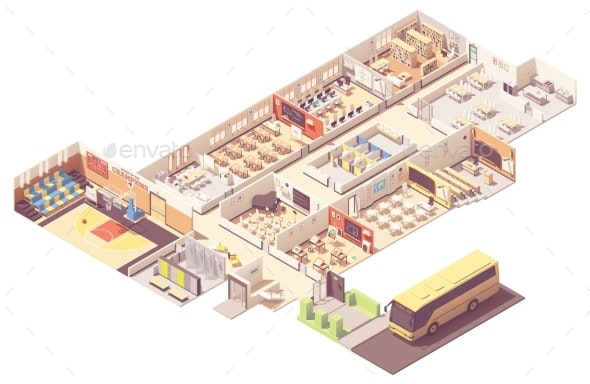 Vector Isometric School Building Cross-Section - Buildings Objects