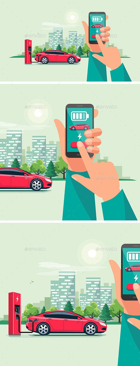 Hand with Smartphone and Charging App for Electric Car - Technology Conceptual