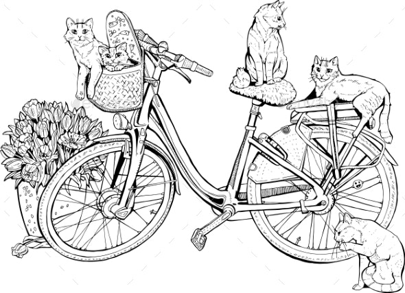 Vintage Bicycle with Cats and Flowers - Sports/Activity Conceptual
