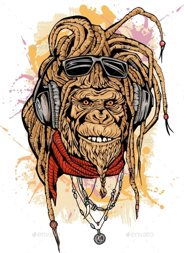 Portrait of Club DJ Rasta Monkey with Color - Animals Characters