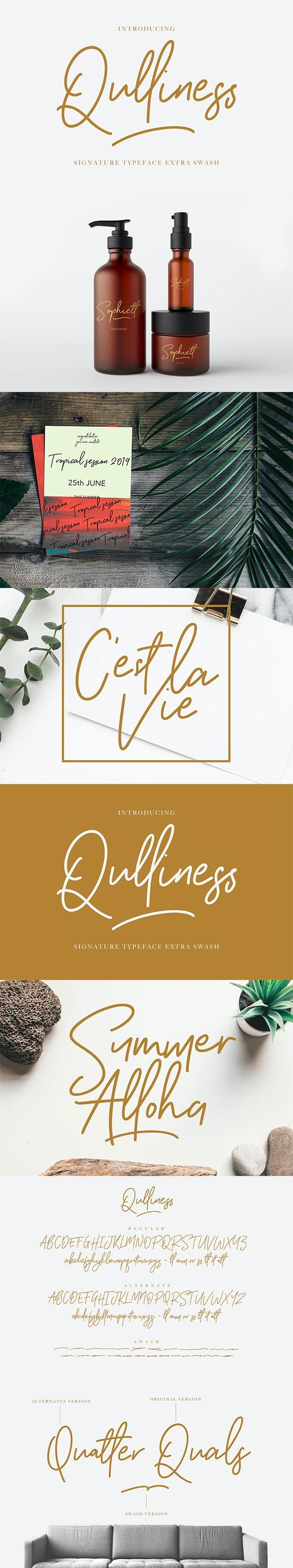Qulliness Signature Font - Calligraphy Script