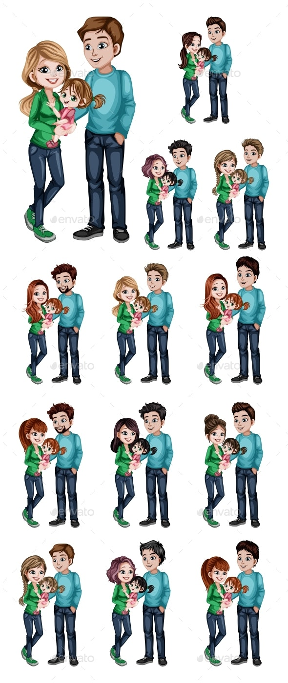 Young Family Cartoon Illustration Set - People Characters