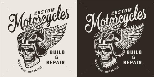 Vintage Custom Motorcycle Shop Emblem - Miscellaneous Vectors