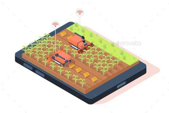 Isometric Smart Farming with Remote Control - Technology Conceptual
