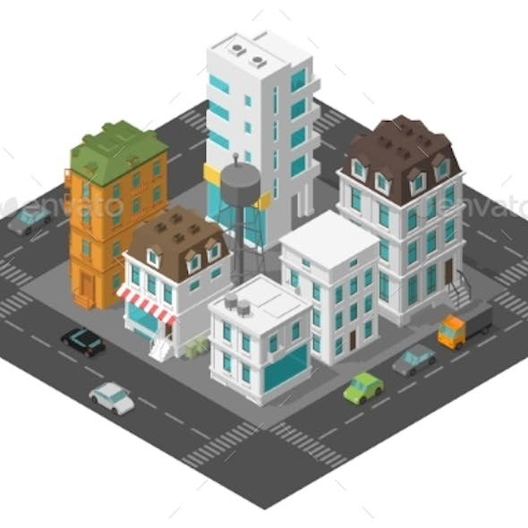 City Street Town District Quarter Isometric