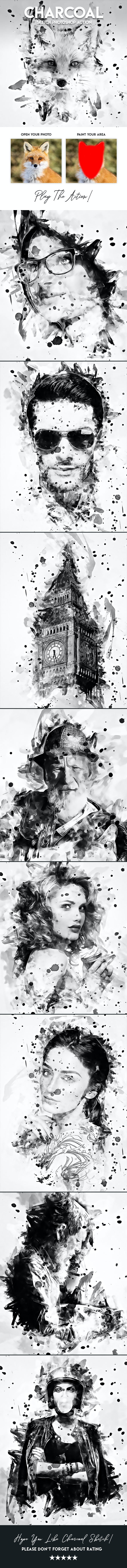 Charcoal Sketch Potoshop action - Photo Effects Actions