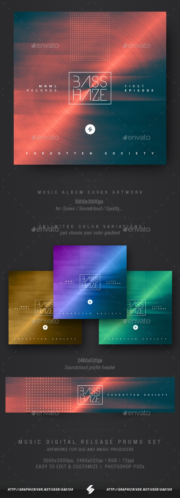 Bass Haze - Electronic Music Album Cover Template - Miscellaneous Social Media