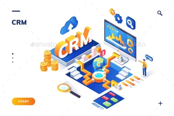 Isometric Banner for CRM or ERP - Miscellaneous Vectors
