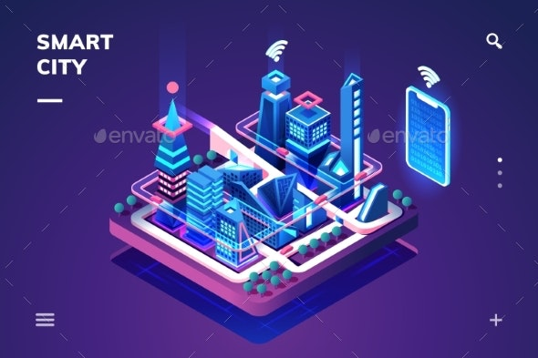 Smart City or Isometric Town with IoT or GPS Tech - Web Technology