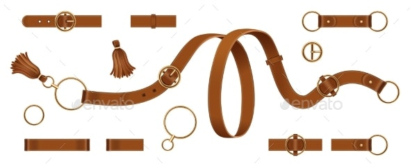 Set of Isolated Man and Woman Leather Belts - Man-made Objects Objects