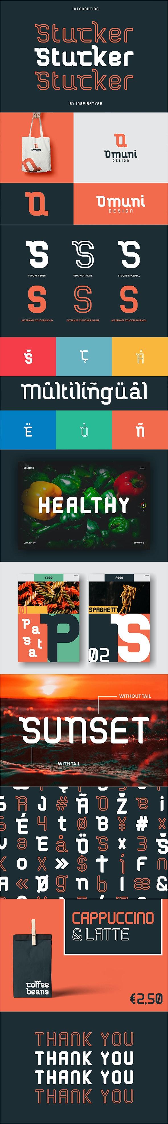 Stucker - Bold, Inline & Regular - Decorative Fonts