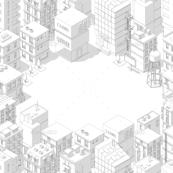 Isometric City Buildings Frame - Buildings Objects