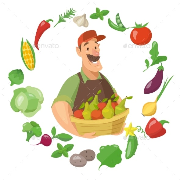 Vector Farmer Character Design with Vegetables - Food Objects