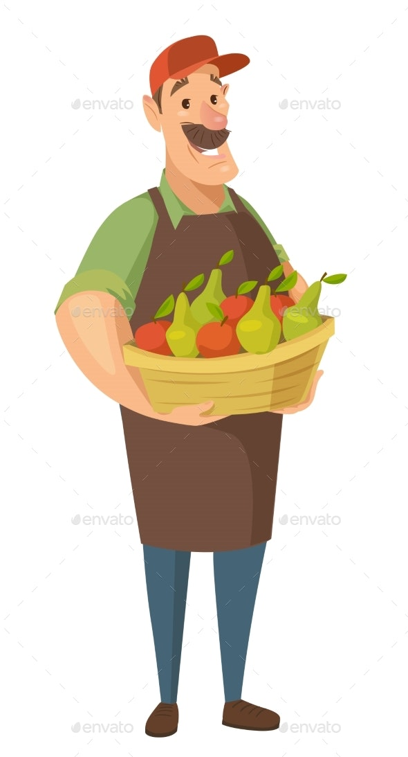 Vector Farmer Character with Vegetables and Fruits - Food Objects