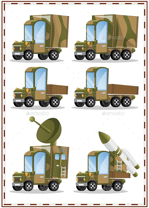 Set of Military Vehicles - Man-made Objects Objects
