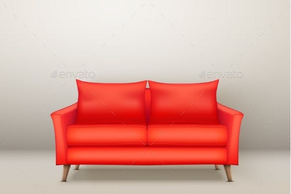 Interior of Modern Red Soft Sofa by Batareykin | GraphicRiver