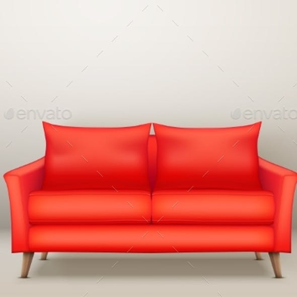 Interior of Modern Red Soft Sofa