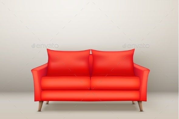 Interior of Modern Red Soft Sofa