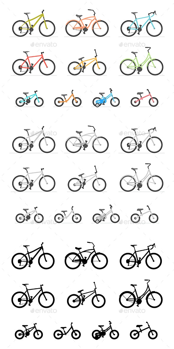 Set of Different Bicycles - Sports/Activity Conceptual