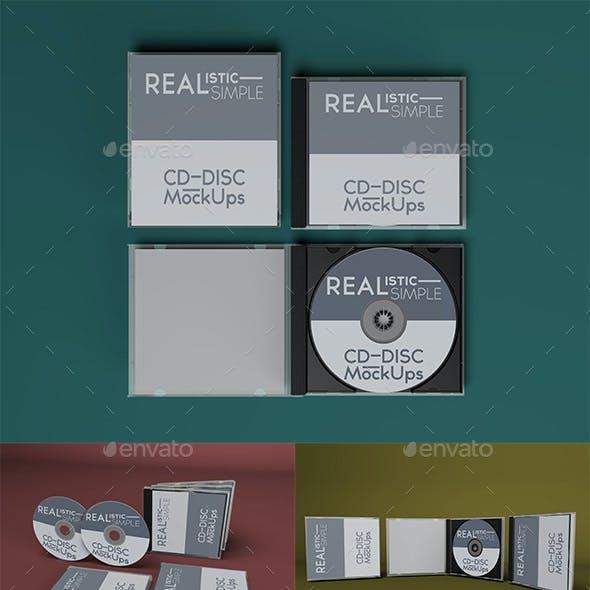 Realistic Simple CD-Disc Mock-Ups