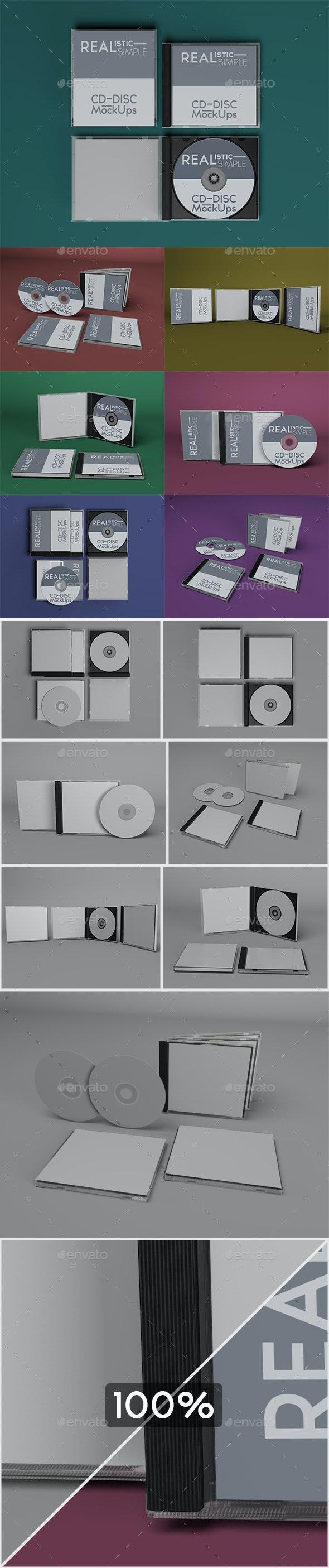 Realistic Simple CD-Disc Mock-Ups - Discs Packaging