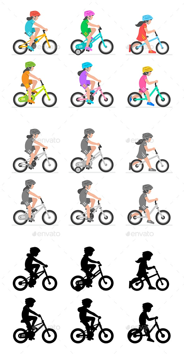 Set of Girls Riding Bikes - Sports/Activity Conceptual