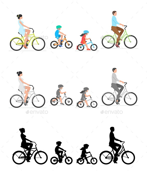 Family Riding Bicycle Together - Sports/Activity Conceptual