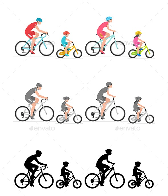 Happy Family Riding Bicycle Together - Sports/Activity Conceptual
