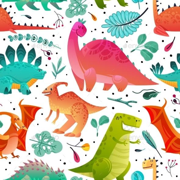 Dinosaur Seamless Pattern - Backgrounds Decorative
