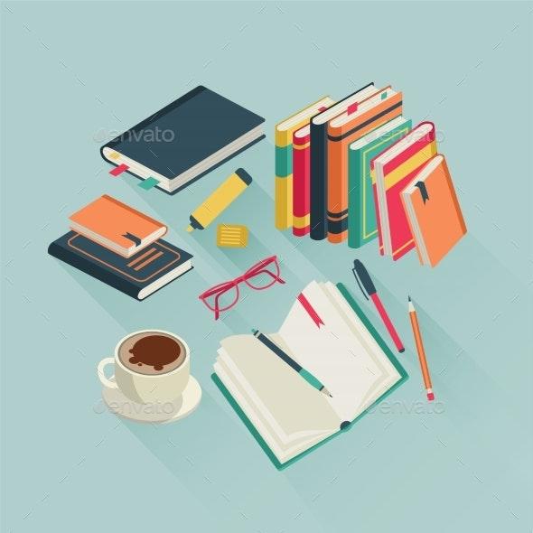 Flat Books Desktop - Miscellaneous Vectors