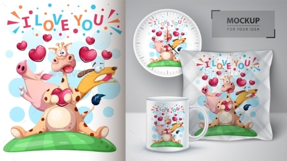 Giraffe Pig and Dog - Mockup for Your Idea - Animals Characters